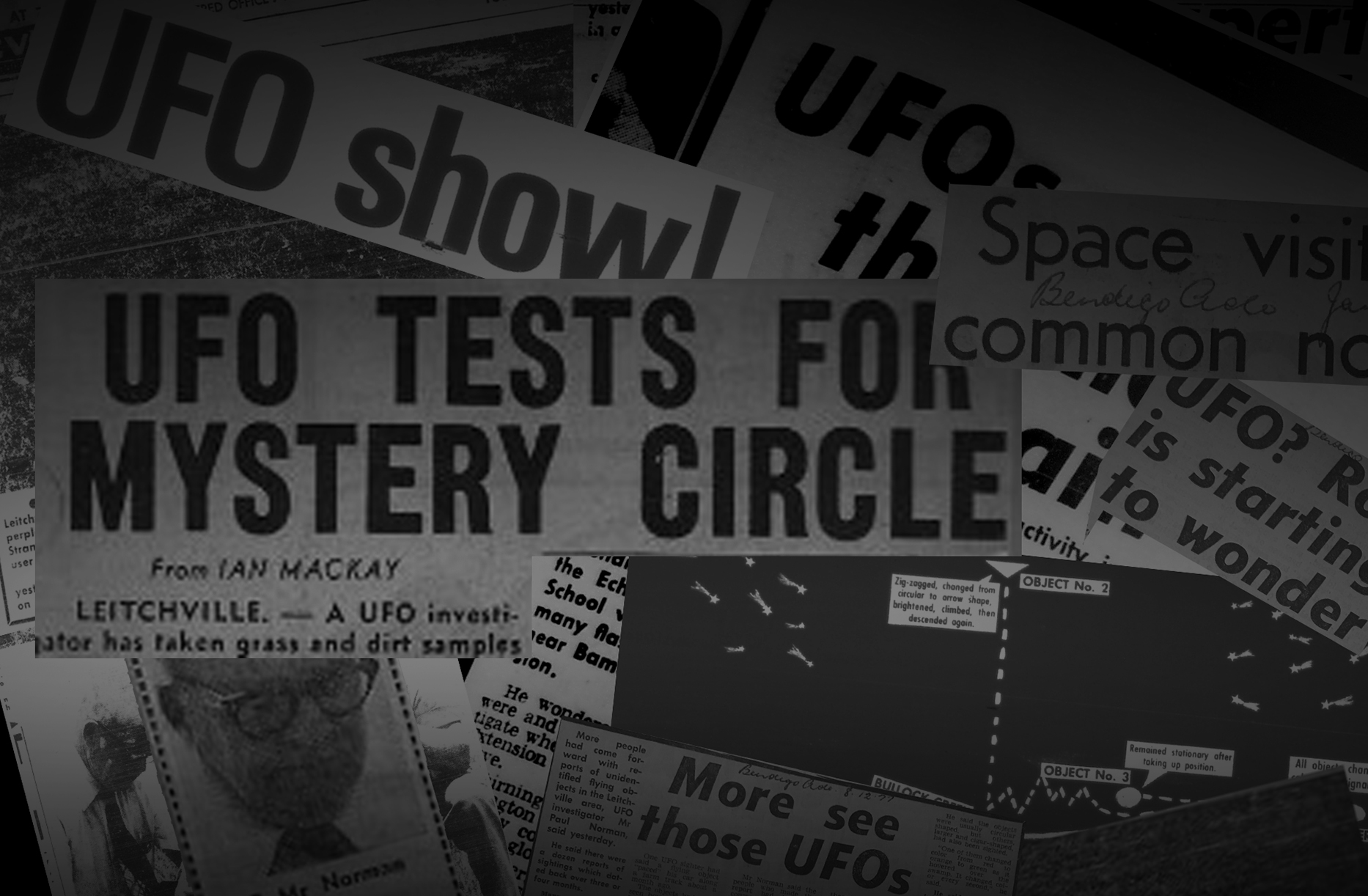 The Sightings podcast UFO newspaper background